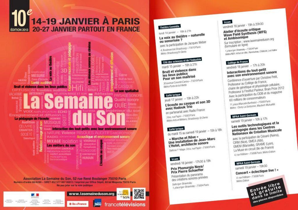 Semaine du Son annonce Paris