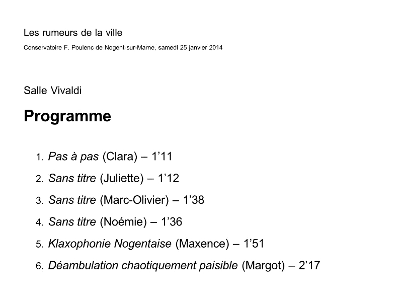 compositions des élèves Salle Vivaldi