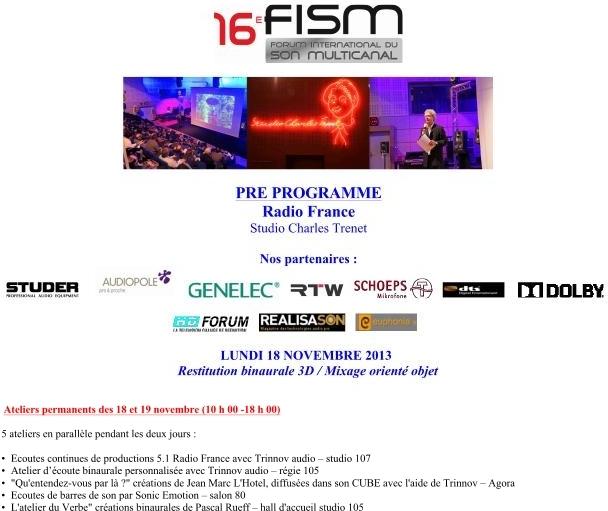 le programme du Forum du Son Multicanal